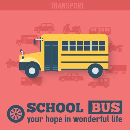 warning lights: Flat school bus background illustration concept. Tamplate for we