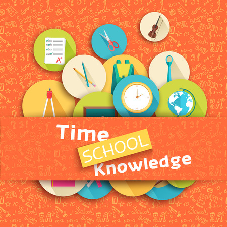 exam: back to school abstract background of flat icons orange concept.