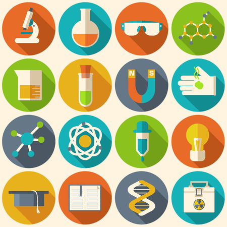 school things: Retro experiments in a science chemistry laboratory icon concept