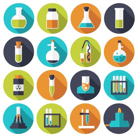 Experimentos retros en una química ciencia icono laboratorio concepto Ilustración de vector