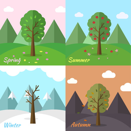 season icon set of nature tree background. Tamplate for web and Illustration