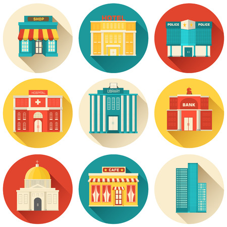 sity: Flat colorful vector sity buildings set. Icon background concept
