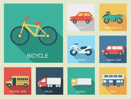 hatchback: Flat cars concept set icon backgrounds illustration design. Tamp