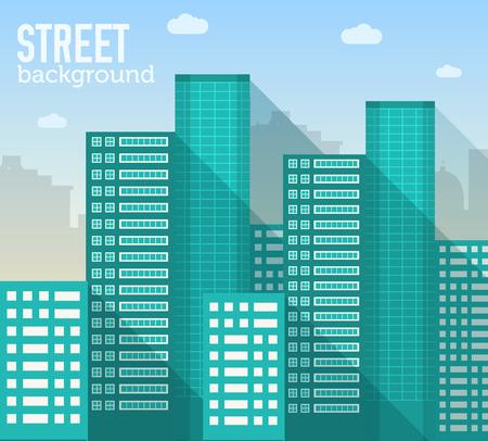 平らなカラフルなベクトルのシティー建物セット。アイコンの背景のコンセプト