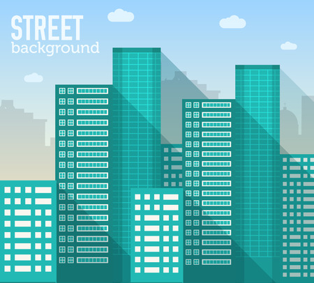 Flat colorful vector sity buildings set. Icons background concep Illustration