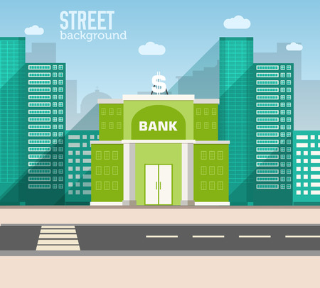 mobile banking: bank building in city space with road on flat style background c