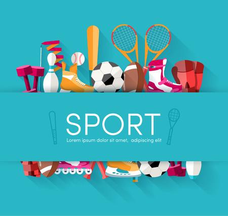 Circular concept of sports equipment sticker background. vector Stock Illustratie