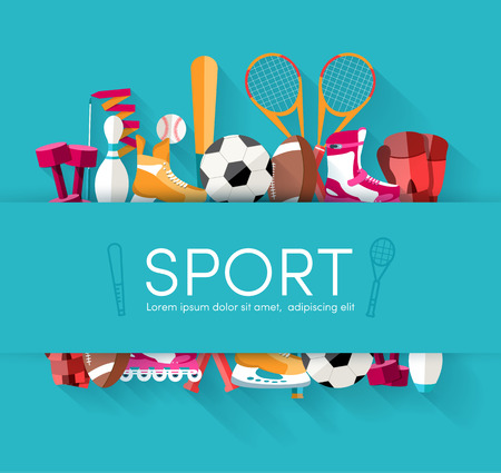 sport icon: Circular concept of sports equipment sticker background. vector Illustration