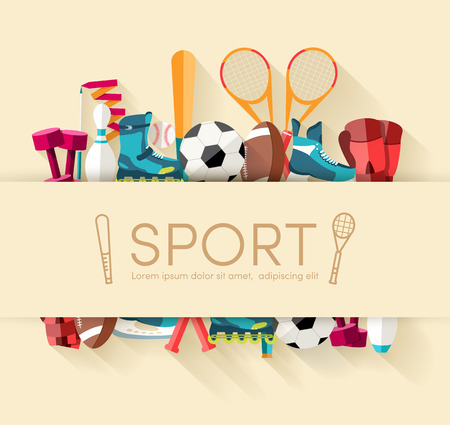 Circular concept of sports equipment sticker background. vector Illustration