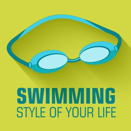 swim race: Flat sport swimming background concept. Vector illustration desi