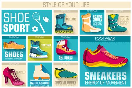 biking glove: big illustration collection set of sport shoe equpment backgroun