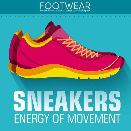 rubber sole: Flat sport sneakers background concept. Vector illustration desi