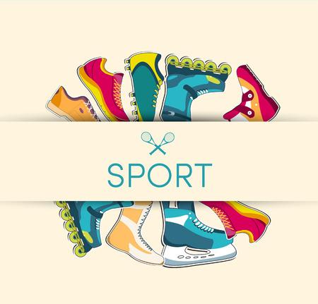 racing skates: big illustration collection set of sport shoe equpment backgroun