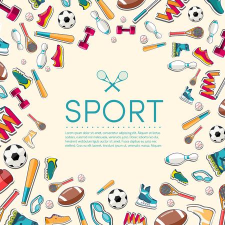 Circular concept of sports equipment sticker background. vector Illustration