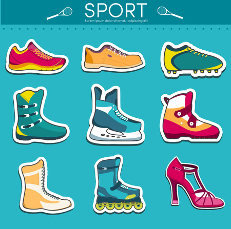 illustration collection: big illustration collection set of sport shoe equpment backgroun