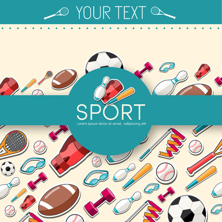 rollerblades: Circular concept of sports equipment sticker background. vector Illustration