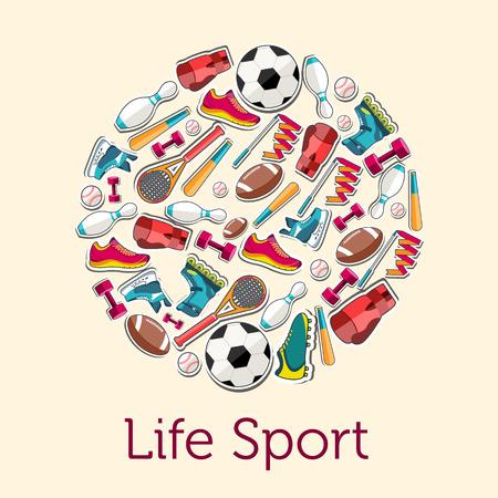 biking glove: Circular concept of sports equipment sticker background. vector Illustration