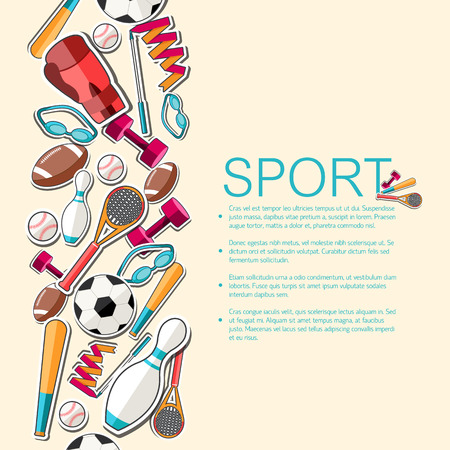 Circular concept of sports equipment sticker background. vector Ilustração