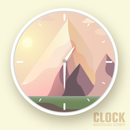 overlook: Flat colorful vector nature mountain clock.Icons background conc