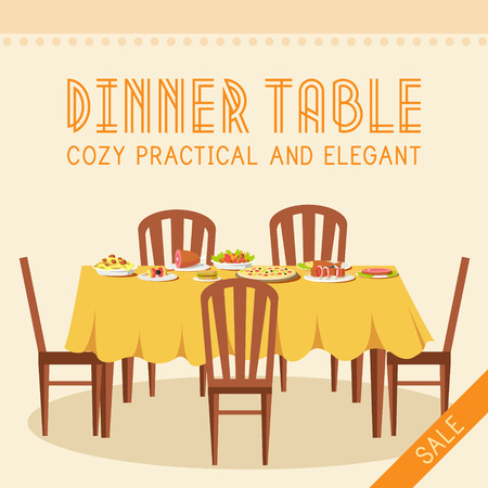 dinner: Flat vintage dinner table with many food background vector illus