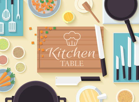 vegetable tin: flat kitchen table for cooking in house vector illustration desi