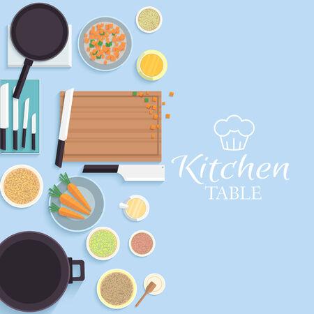 vlakke keukentafel voor het koken in huis vector illustratie desi