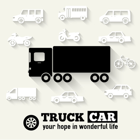 Flat truck car background illustration concept. Tamplate for web Vector