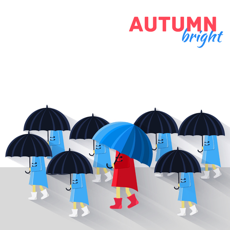 raining background: People with umbrella in a autumn raining day background concept.