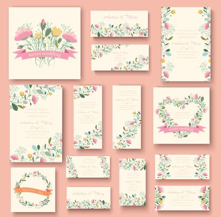 wesele: kolorowe powitanie karta zaproszenie na ślub zestaw ilustracji. Przepływ Ilustracja