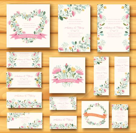 colorful greeting wedding invitation card illustration set. Flow