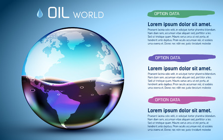 gas ball: glasses world oil stock background concept. vector illustration
