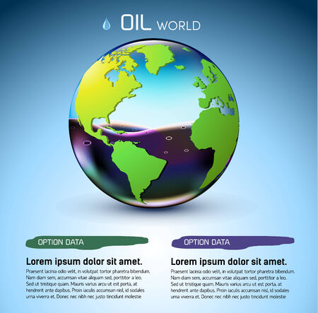 gas ball: glasses world oil stock background concept. vector illustration