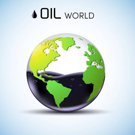 glasses world oil stock background concept. vector illustration