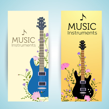 classical guitar: flat music instruments background concept. Vector illustrator Illustration