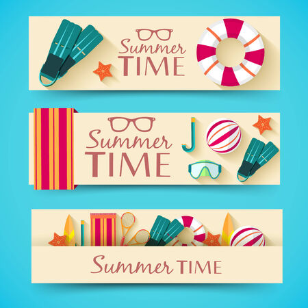 towel beach: summer vecetion time background vector illustration concept