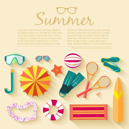 palm wreath: summer vecetion time background vector illustration concept