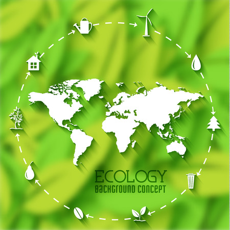 green environment: flat eco leaf banners concept. Vector illustration design
