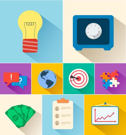 bull pen: Business flat icons for infographic. Vector Illustration design