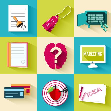 phon: business flat icon set. Vector illustration