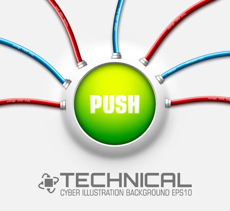 ethernet: technical button push with wire background. Vector illustration Illustration