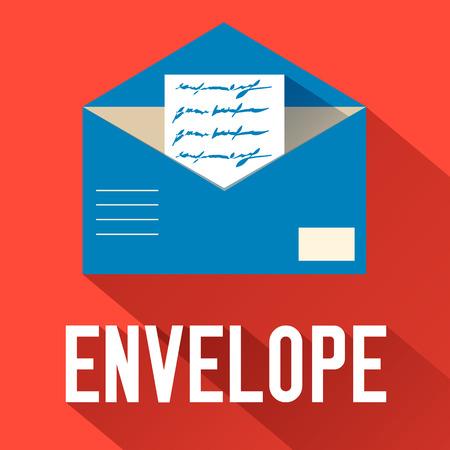 envelope design: flat open envelope design. vector illustration concept