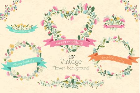 parra: retro del concepto del fondo de la flor. Ilustración vectorial Vectores