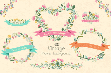 abstract flowers: retro flower background concept. Vector illustration