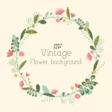 vines: retro flower background concept. Vector illustration