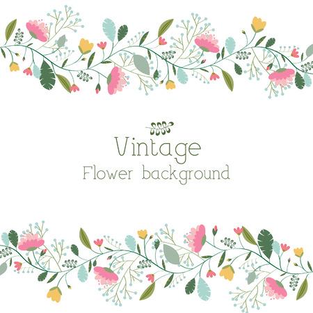 summer flowers: retro flower background concept. Vector illustration