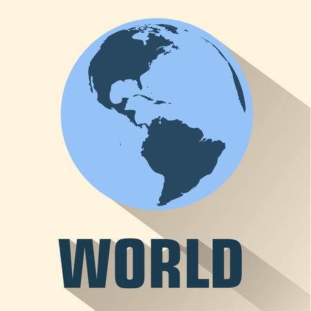 flat globe: flat map background concept. Vector illustration