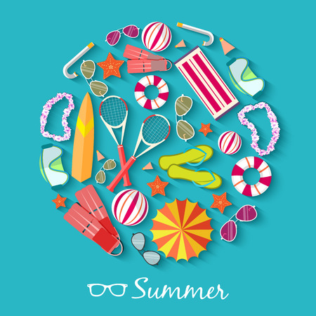 sun beach: summer vecetion time background vector illustration concept