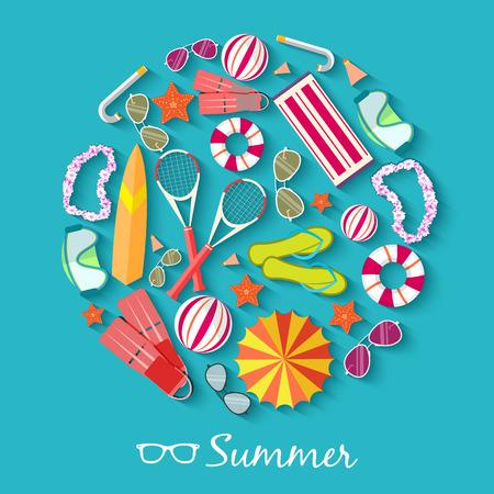 de zomer: zomer vecetion tijd achtergrond vector illustratie-concept