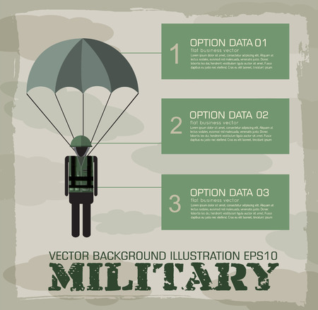 military training: paratrooper military infographics background. Vector illustration