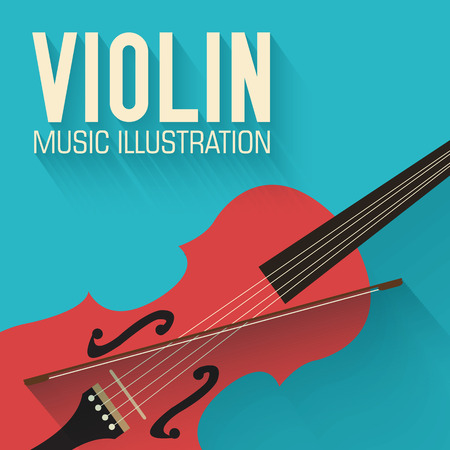orchestra: flat violin guitar vector background concept